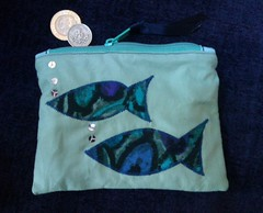 Purse - two blue fish (Dr Badcrumble - Maker and Baker) Tags: coinpurse makeupbag purse wallet handmade recycled upcycled stripe fish sea mrsbadcrumble