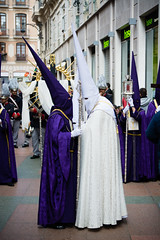 Two Sides Meet (SamHardgrove) Tags: two sides meet middle street conversation religion malaga spain espana espaa colors purple white meeting calle semana santa