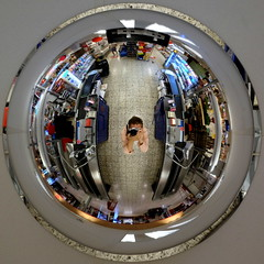 Globe Portrait (fabiankoppers) Tags: supermarket globe mirror self portrait colour detail macro circle sphere minimalism perspective indoor arcitecture glass camera me light reflection