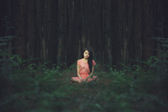 Speechless and Silent (Dudy | 2112 photography) Tags: mood model makeup mode people portrait potrait photography photo concept fashion face forest f28 fairy nikon nature vintage asia asian dark tamron dress d90 dreamscape beauty beautiful retro red girl girls wardrobe