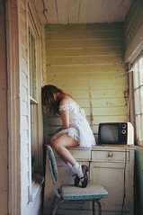 (yyellowbird) Tags: house selfportrait abandoned girl television illinois cari