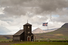 ingeyrar (joningic) Tags: summer sky mountains church nature iceland flag kirkja hnavatnsssla ingeyrakirkja