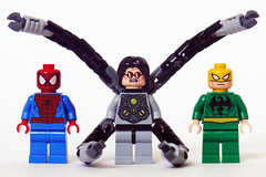 6873 Minifigs front (Oky - Space Ranger) Tags: lab iron lego ultimate anniversary review doctor fist octopus doc academy ambush ock spidermans reviewers 6873