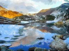 Alps (Vestaligo in deep mourning) Tags: schnee sky mountain snow alps color water clouds reflections painting rocks europe digitalart knife wolken brush fantasy oil imagination alpen farbe felsen malerei corelpaint