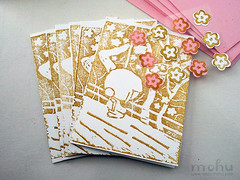 Lino print notecard set (mohu mohu) Tags: pink trees brown white set print cherry asian cards japanese handmade cut stickers blossoms note kawaii stationery greeting lino mohu mohumohu mohustore