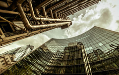 Reflection (Scott Baldock Photography) Tags: street city sky reflection london glass station st clouds reflections office pov mary bank gb axe lime gherkin swissre willis lloyds cityoflondon lightroom leadenhall fenchurch lloydsoflondon cityarchitecture