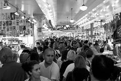 Pike Place Market, Sunday (tylermielnichuk) Tags: seattle street summer people bw canon crowd 7d pikeplacemarket crowded tamron2470mmf28vcdiusd