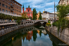Ljubljana - The Triple Bridge | Tromostovje (Yen Baet) Tags: street city trip travel bridge vacation urban reflection water architecture photography photo ancient europe european cityscape view dusk postcard eu landmark structure historic slovenia esplanade promenade ljubljana picturesque castlehill centralmarket laibach ljubljanica centraleurope slovenian julianalps slovene ljubljanskigrad lubiana republikaslovenija labacum republicofslovenia aemona yenbaet petkovkovonabreje joeplecnik petkovekembankment preerenstreet