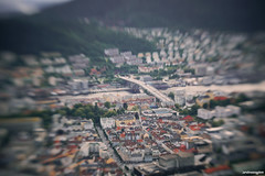 Floyen (Sarah Vn) Tags: city summer baby nature car norway lensbaby lens outside outdoors norge miniature sony shift august cable bergen alpha scandinavia tilt 77 bryggen scandinavian 2012 floyen flyen a77 noorwegen tiltshift flibanen flyfjellet alpha77