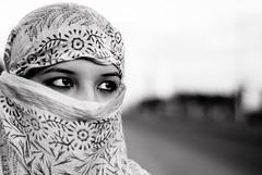 319/365. Veiled. (Anant N S) Tags: portrait blackandwhite bw woman india girl monochrome beautiful photography 50mm blackwhite eyes nikon dof veil portraiture pune project365 veiledbeauty nikond3000 lensor anantns thelensor anantnathsharma