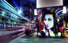 Bethnal Green Road (Anatoleya) Tags: road city light urban 3 bus london night canon prime graffiti evening stream long exposure traffic mark f14 iii central trails stop le shoreditch hoxton 5d 24mm hdr rd bethnalgreen f14l 5d3 anatoleya