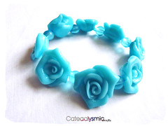 Pastel Blue Rose Bracelet (1) ( Cateaclysmic ) Tags: blue cute rose handmade crafts fimo lolita clay kawaii bracelet etsy polymer