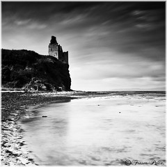 Greenan Castle (Fraser.Price) Tags: old longexposure shadow sky bw seascape beach water clouds landscape outdoors coast scotland landscapes blackwhite nikon coastline greenancastle d700