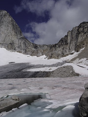 The Bugaboos - Crescent Glacier (Tideline to Alpine Photo, Idiosyncrasy Exemplified) Tags: camping sky snow mountains ice expedition clouds hiking spires glacier adventure climbing alpine mountaineering moraines wilderness tarn scrambling alpinism bugaboos thebugs alpineclimbing bugabooprovincialpark crescentspire applebeecamp applebeedome bugaboocrescentcol