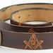 232. Vintage Masonic Leather Belt with Buckle