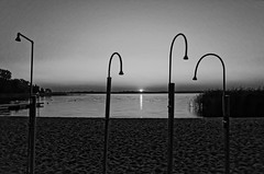 End of the day, beach Lake Dabie. (TomasLudwik) Tags: dabie beach plaza bw blackandwhite coolpixa coolpix
