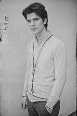 N 264 (Steve Lundqvist) Tags: man boy rude guy ragazzo uomo male sweater cardigan menswear shirt pinstripes cigarette smoking hair young people monochrome bw black white