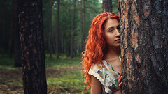 longing reunion (Maria Nenenko) Tags: idea concept portrait conceptual marinino marininoart fineart art redhair longhair woman girl beaty young terror dear desire mood style emotion surgut russia forest nature gree red story storytelling pic best picture conceptphotos