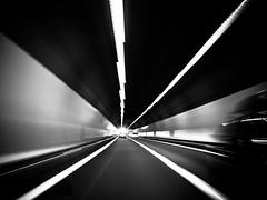 flash of light (Sandy...J) Tags: olympus monochrom fotografie mono noir light licht lines linien tunnel street sw schwarzweis blackwhite bw black photography unterfhrung underpass white wall wand geschwindigkeit speed tempo blur blurred verschwommen verwischt strase