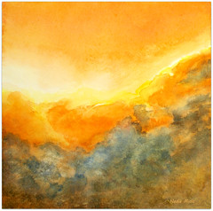 Watercolour:...Dream Spheres... (Nadia Minic) Tags: sky dream spheres poetic golden shining light clouds watercolour art artistnadiaminic luxembourg sonnenuntergang himmel ciel couchersoleil impression chaud jaune orange abstract painting explore