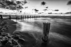 Fading Light (chrocoflo) Tags: seebrcke sea beach long exposure sony alpha emount a7 ilce7 ilce7m2 available light germany europe zingst manual monocrome samyang 14mm bw black white