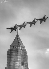 The Blue Angels Flying by the Key Tower in Downtown Cleveland (clevbuck1986) Tags: cleveland ohio blueangels keytower plane jet building skyscraper clevelandairshow