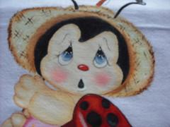 """Joaninha """"closse"""" (Pintura em tecido. Panos de prato.) Tags:"""