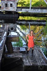 Of freedom and of pleasure (ripleymb) Tags: old bridge portrait orange woman reflection sc nature female river model nikon boots conway southcarolina southern portraiture d90 waccamaw nikond90