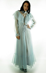 Victorian Inspired Pale Blue Chiffon & Ornamental Lace Ruffled Gown Full Length Front Inclined (mondas66) Tags: ruffles dress lace victorian chiffon dresses romantic gown elegant gowns ornate ornamental lacy sheer frilly elegance ruffle frills frill ruffled lacework frilled frilling frillings befrilled