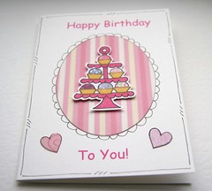 Sweet Treats Cupcake Stand Birthday Card (Crafty Mushroom) Tags: birthday pink cake female sweet stripes cupcake card treat doodled