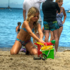 Blonde Girl on the Beach (Kevin M Gallagher) Tags: ocean summer beach water girl hawaii bucket day outdoor bikini kauai unknown hanalei hanaleibay tonemapped