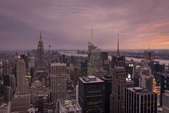 Top Of The Rock Sunset (PhiiiiiiiL) Tags: new york city sunset usa rock observation downtown day cityscape state cloudy top united center midtown deck empire hudson states rockefeller sonneuntergang topoftherock wolk