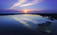 New Day (khalid almasoud) Tags: new light sea cold reflection beach beauty weather birds sunrise canon eos rocks flickr moments day all photographer  scene rights estrellas khalid reserved   greatphotographers 50d photographyrocks almasoud flickraward  thebestofday gnneniyisi