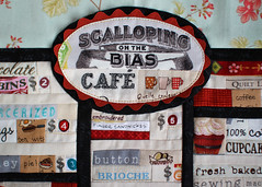 Cafe Sign (PatchworkPottery) Tags: menu cafe quilt tea handmade embroidery sewing contest machine espresso patchwork applique paperpiecing textingwhilesewing
