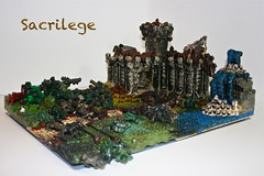 Sacrilege (watch video first) (Siercon and Coral) Tags: castle fire waterfall lego burn melt gasoline megablocks explode moc megablock