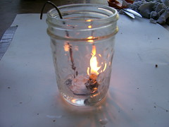 olive oil lamp lit (iwillgetready.com) Tags: diy lamps projects oillamp oliveoillamp