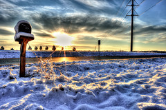 winter sunrise (loco's photos) Tags: trees winter snow lines clouds mailbox sunrise landscape power pentax sunburst kr hdr photomatix da15limited