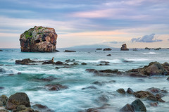 Sotoura Rocky-shore 6:20 PM [Explore] (-TommyTsutsui- [nextBlessing]) Tags: longexposure blue light sunset sea summer orange seascape beach nature rock japan clouds landscape nikon purple dusk tide scenic wave shore      islet izu shimoda   ndfilter  sotoura   sigma1750 onsalegettyimages