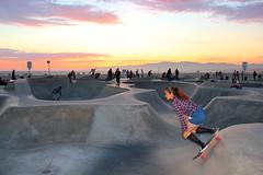Girl at Sunset Skate Park (Eric Demarcq) Tags: california ca sky usa beach colors america la losangeles view pacific laist canoneos600 discoverla ericdemarcq