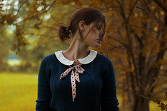 about the first smell of autumn (laura zalenga) Tags: blue woman tree green nature girl face leaves yellow hair branch bokeh ribbon laurazalenga
