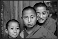 Moinillons au monastre de Paro (Bhoutan) - Young monks at the monastery of Paro (Bhutan) (Jean Yves Juguet ) Tags: light boy woman man children landscape temple dance asia child buddhist religion monk buddhism monastery monks dzong prayerflags paro bhutanese