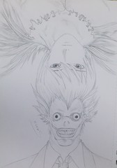 Exchange roles (Sama0s) Tags: light anime art pencil death fan sketch drawing manga note fanart artists drawn deathnote  yagami   ryuk    yagamilight