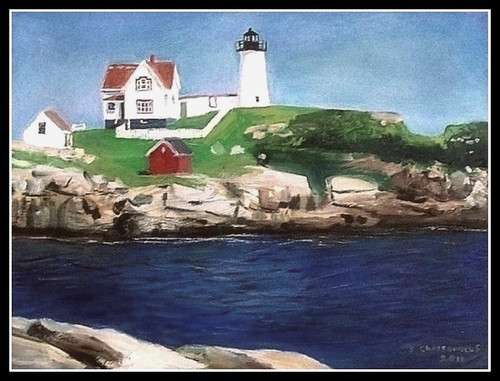 Nubble Light - Oil Painting by STEVEN CHATEAUNEUF (2011) - Photo Of Painting Also by STEVEN CHATEAUNEUF (2011)