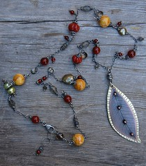 Promise of Autumn Necklace (Cynthia Murray Design) Tags: etched necklace jasper pearls copper sterling brass patina labradorite carnelian riveted handcraftedjewelry