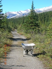 Wheelbarrow and road
