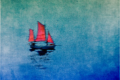 Sailing (Peter Femto) Tags: ocean blue red sea blur rot texture water germany boot coast boat meer wasser sails blurred coastal digiart layers blau minimalism nordsee unscharf segelboot segel verwischt küste sailingboat northgermany unschärfe minimalismus nikond300 flypapertextures
