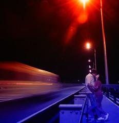 Kisses at the Dancing Bridge of Volgograd (winzor2007) Tags: bridge blue light boy red portrait motion love girl couple long exposure mood dynamic dancing kisses static romantic alexander inlove volgograd baranov