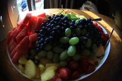 fruit platter (Maicdlphin) Tags: party fruit strawberry fisheye watermelon pineapple grapes platter cantaloupe