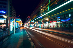 Friedrichstrae at night (LRCAN) Tags: berlin night germany deutschland noche nikon europa europe septiembre nocturna alemania kdd friedrichstrasse 2012 tranvia lorcan largaexposicion d90 friedrichstrase lorcanpictures frikisdemadrid