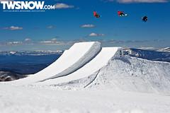 Lago_Willet_Bode_Serfas (jrgertlar) Tags: usa sport snowboarding spring jump freestyle colorado sunny northamerica hip aspen redbull snowmass method crail triplejump frontsideair backsideair weatherconditions scottylago parkjump ericwillett bodemerrill brainfarmcinema